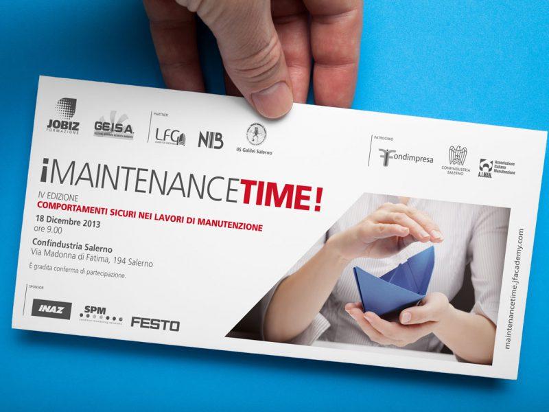 Progettazione grafica invito per evento aziendale sul tema della manutenzione