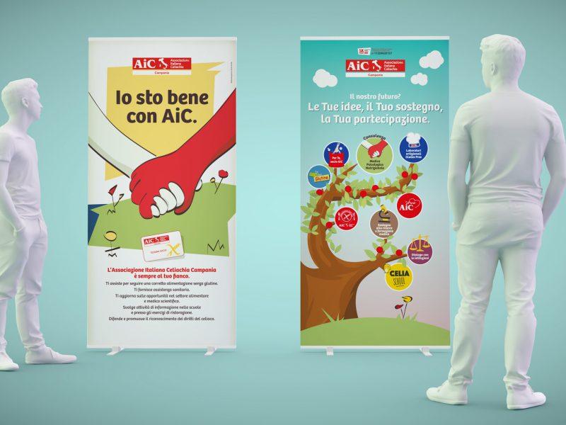Progettazione rollup - banner con illustrazioni per un'associazione non-profit