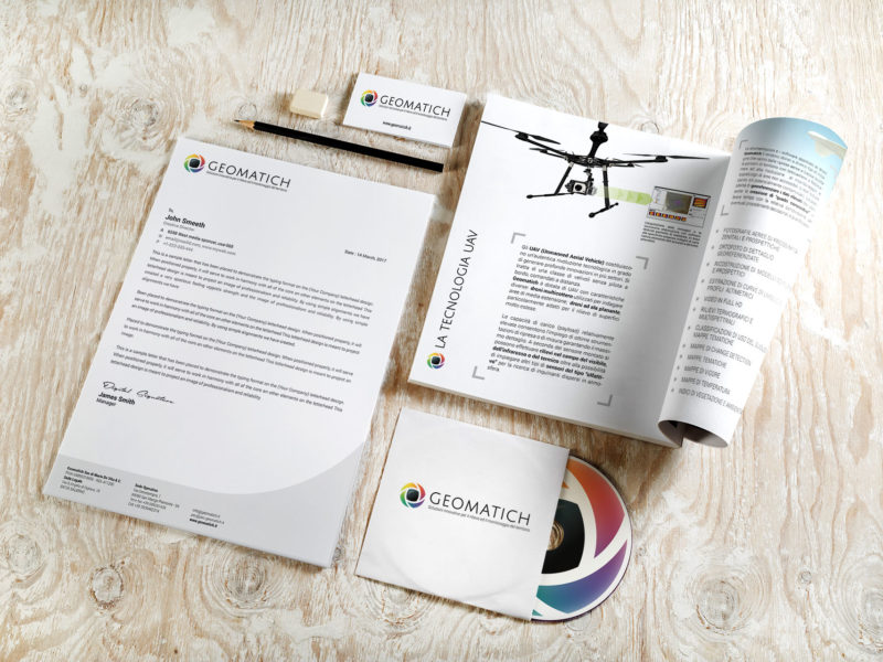 Immagine coordinata e brochure promozionale per un azienda specializzata nell'analisi aerea di terreni