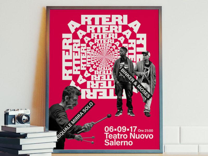 Grafica locandina e volantino concerto a Salerno nell'ambito di un festival musicale